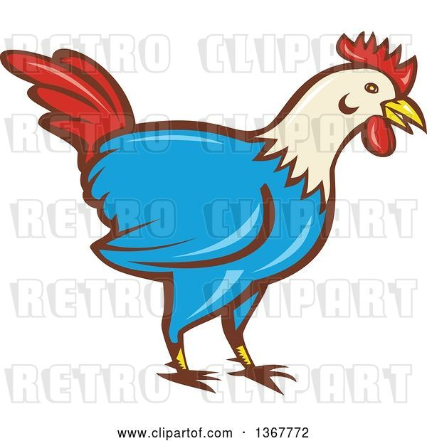 Vector Clip Art of Retro Cartoon Rooster