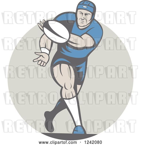 Vector Clip Art of Retro Cartoon Rugby Player Passing a Ball