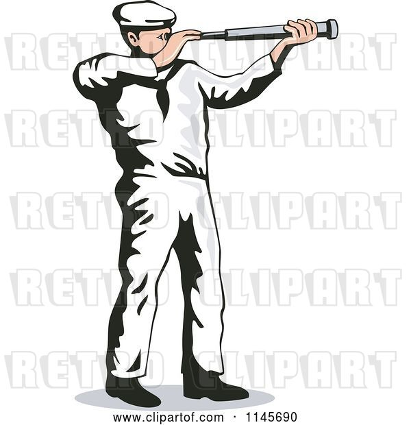 Vector Clip Art of Retro Cartoon Sailor Viewing Through a Telescope