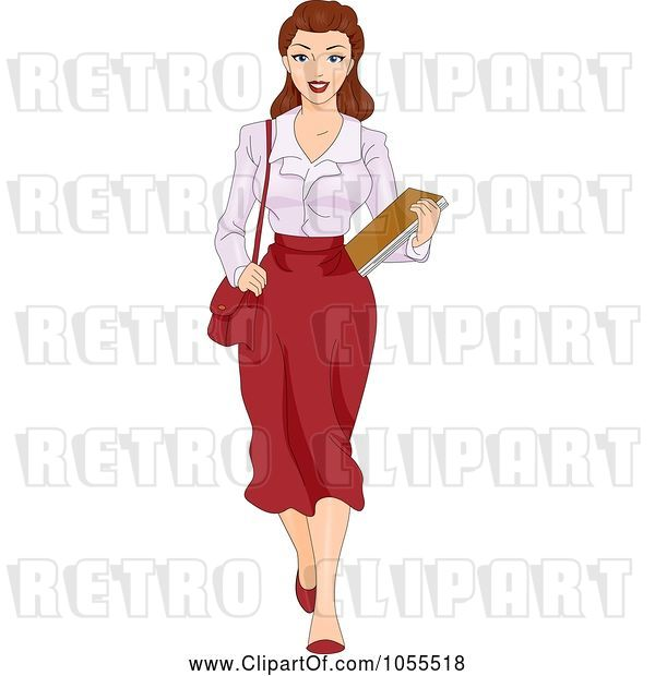 Vector Clip Art of Retro Cartoon Sexy Pinup Secretary Carrying Documents