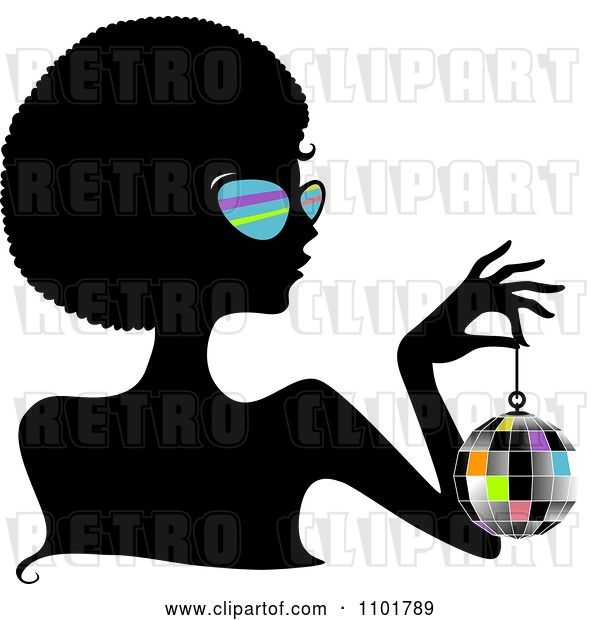 Vector Clip Art of Retro Cartoon Silhouetted Black Lady Wearing Sungasses and Holding a Disco Ball