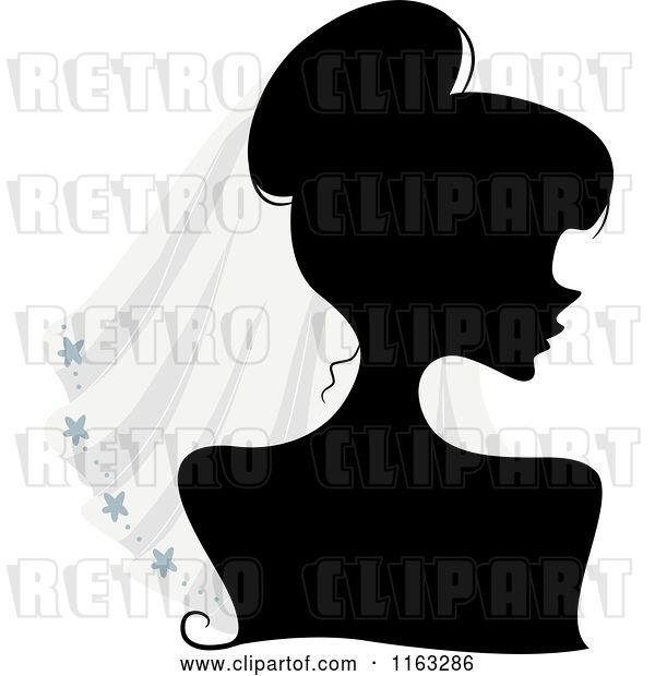 Vector Clip Art of Retro Cartoon Silhouetted Bride Lady Wearing a Veil