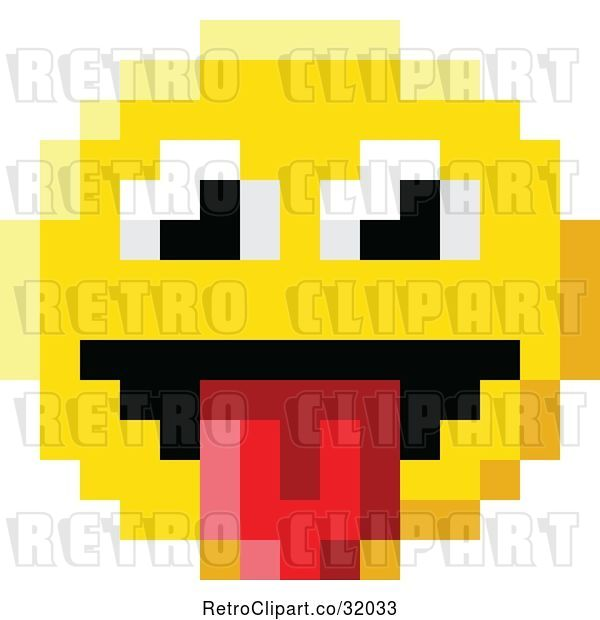 Vector Clip Art of Retro Cartoon Silly 8 Bit Video Game Style Emoji Smiley Face Sticking a Tongue out