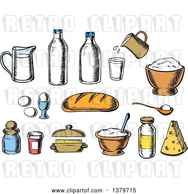 Vector Clip Art of Retro Cartoon Sketched Baking Ingredients