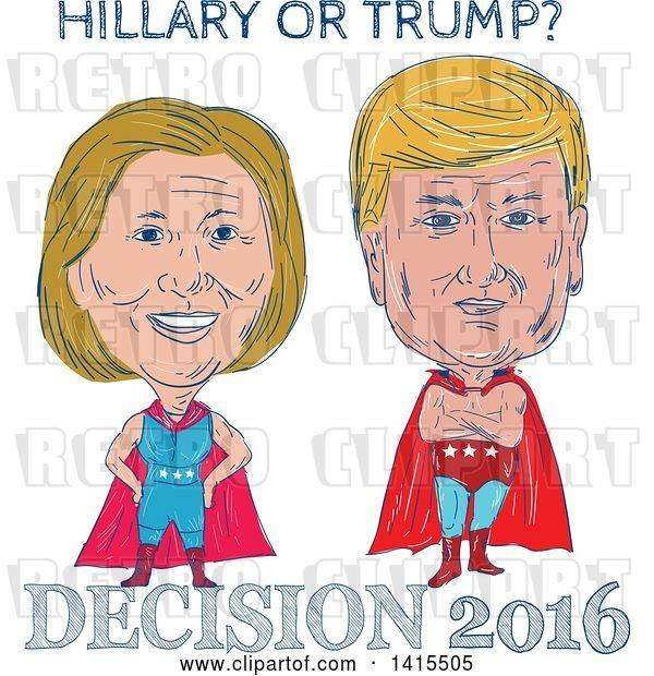 Vector Clip Art of Retro Cartoon Sketched Caricatures of Hillary Clinton and Donald Trump As Wrestlers or Luchadors with Text