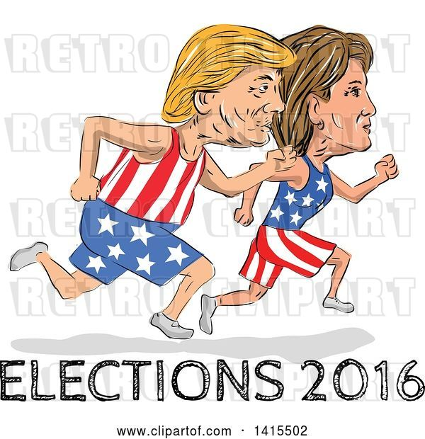 Vector Clip Art of Retro Cartoon Sketched Caricatures of Hillary Clinton and Donald Trump Running for the Presidency with Elections 2016 Text