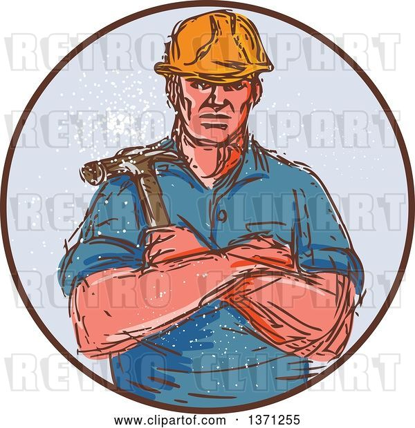 Vector Clip Art of Retro Cartoon Sketched Male Builder Holding a Hammer in a Circle