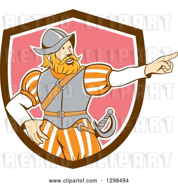 Vector Clip Art of Retro Cartoon Spanish Conquistador Pointing in a Brown White and Pink Shield