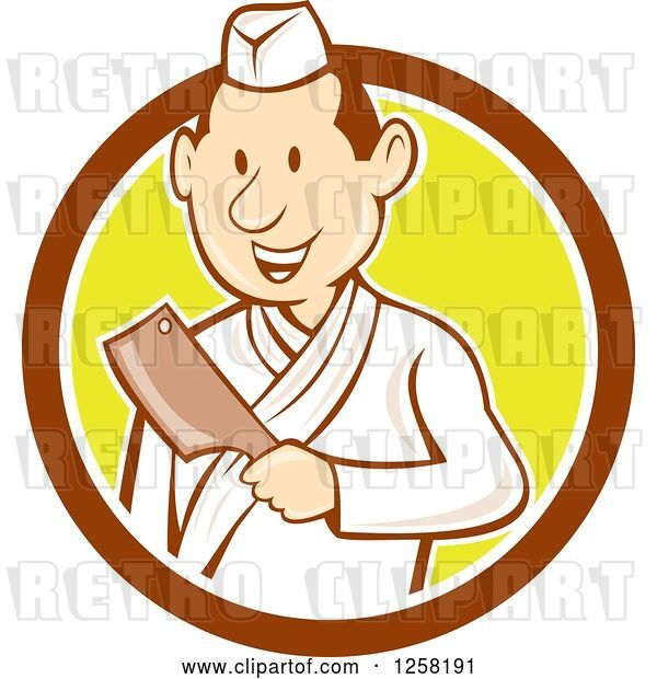 Vector Clip Art of Retro Cartoon Styled Japanese Butcher Guy Holding a Cleaver Knife in a Brown White and Yellow Circle