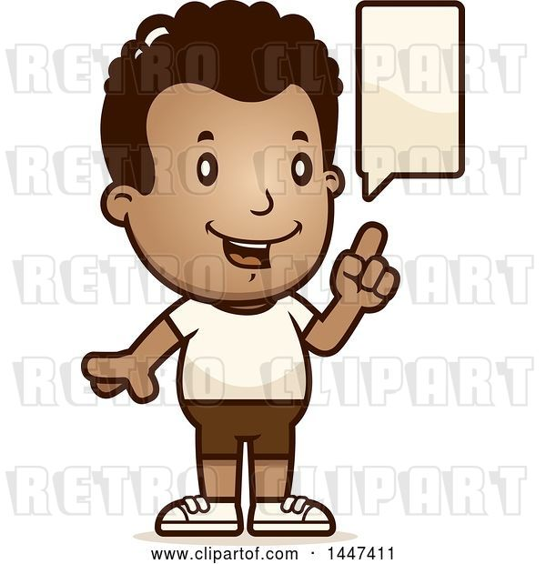 Vector Clip Art of Retro Cartoon Talking Black Boy in Shorts