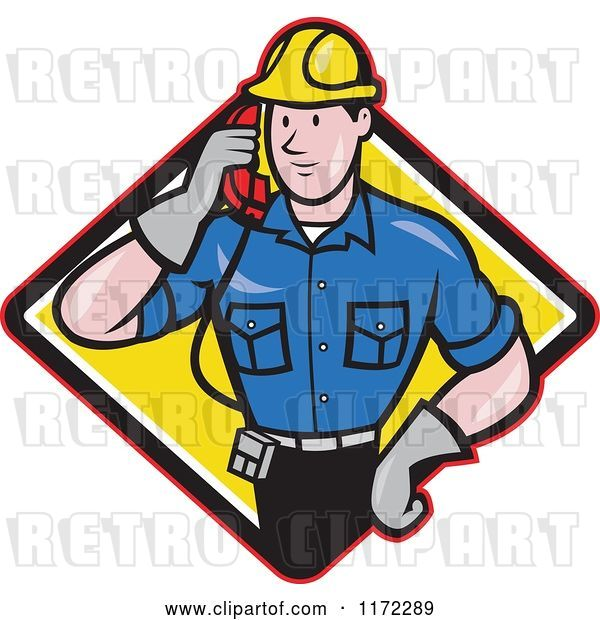 Vector Clip Art of Retro Cartoon Telephone Service Repair Guy Holding a Receiver in a Yellow Diamond