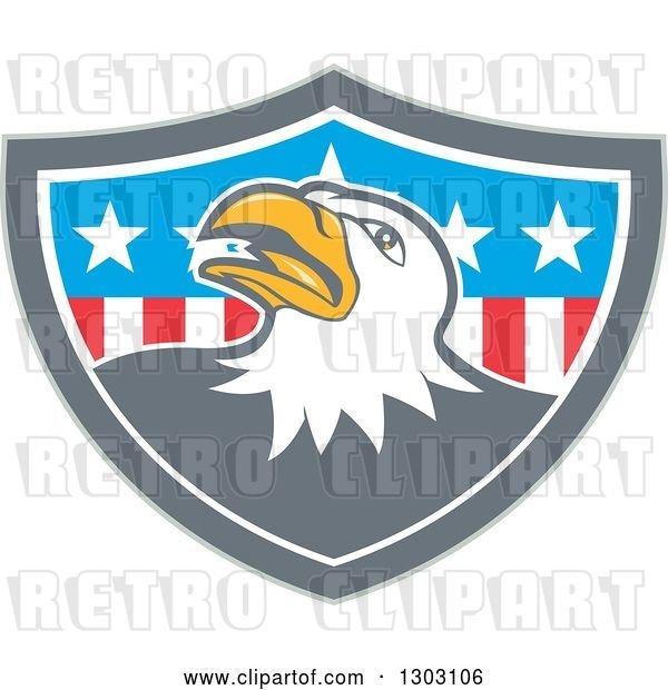 Vector Clip Art of Retro Cartoon Tough Bald Eagle in a Gray White and American Flag Shield