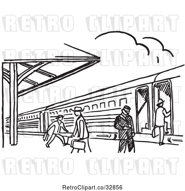 Vector Clip Art of Retro Cartoon Train Station