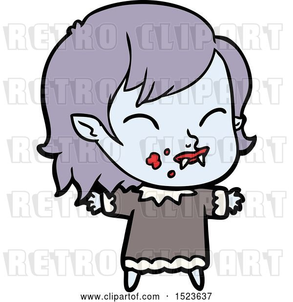 Vector Clip Art of Retro Cartoon Vampire Girl with Blood on Cheek