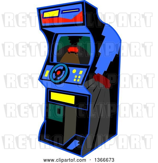 Vector Clip Art of Retro Cartoon Video Driving Arcade Game with a Steering Wheel
