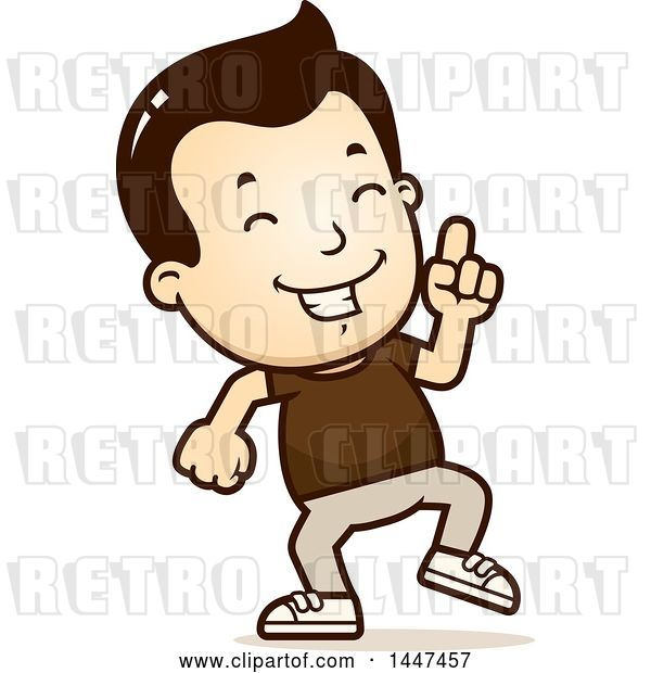 Vector Clip Art of Retro Cartoon White Boy Doing a Happy Dance