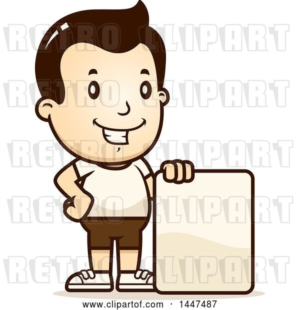 Vector Clip Art of Retro Cartoon White Boy in Shorts, with a Blank Sign