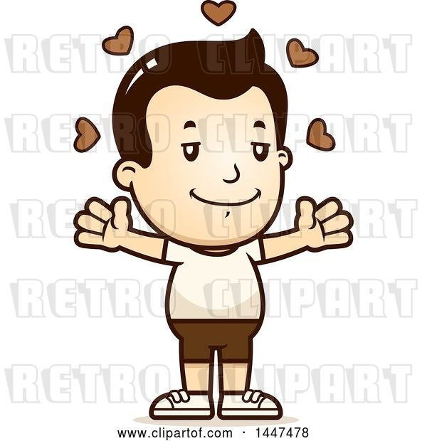Vector Clip Art of Retro Cartoon White Boy in Shorts with Open Arms and Love Hearts