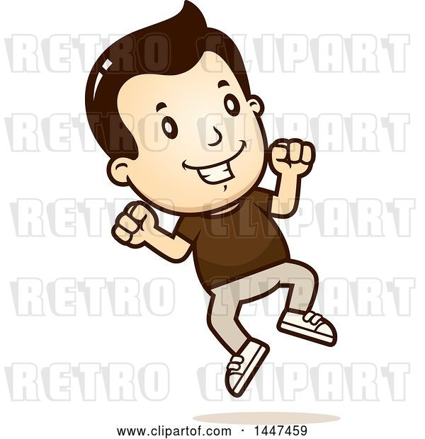 Vector Clip Art of Retro Cartoon White Boy Jumping