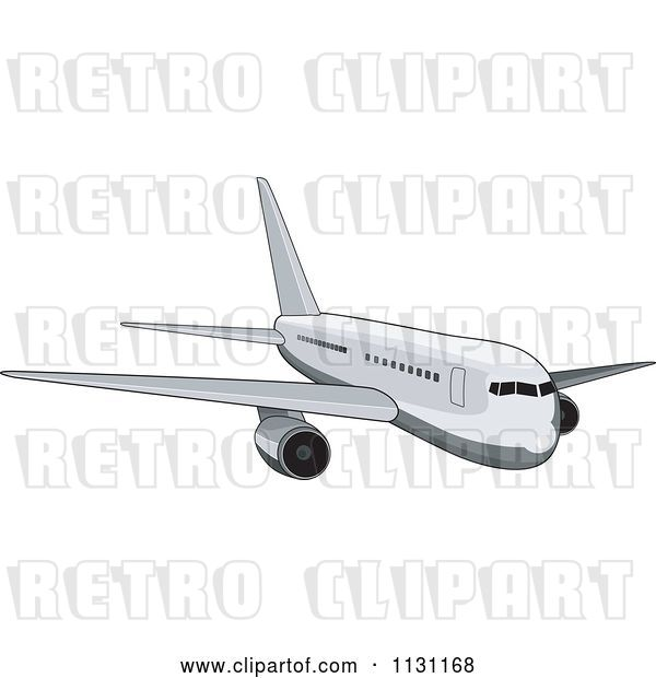 Vector Clip Art of Retro Cartoon White Commercial Airliner Plane