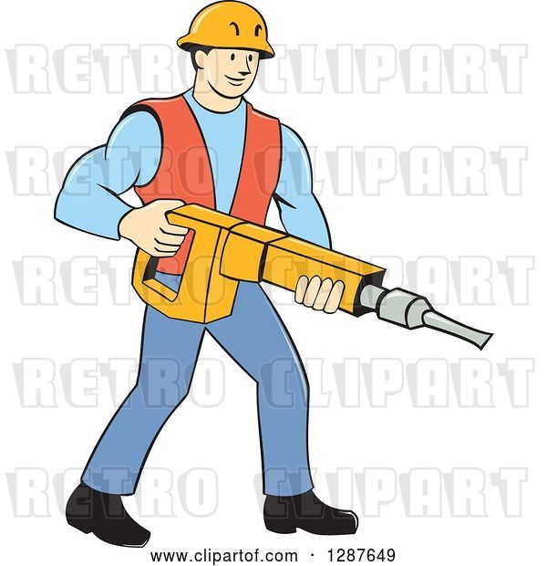 Vector Clip Art of Retro Cartoon White Construction Worker Holding a Jackhammer Drill