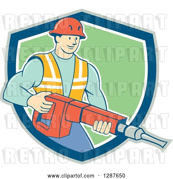 Vector Clip Art of Retro Cartoon White Construction Worker Holding a Jackhammer Drill in a Shield