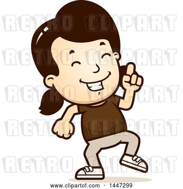 Vector Clip Art of Retro Cartoon White Girl Doing a Happy Dance