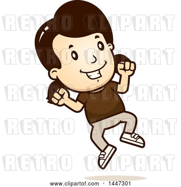 Vector Clip Art of Retro Cartoon White Girl Jumping
