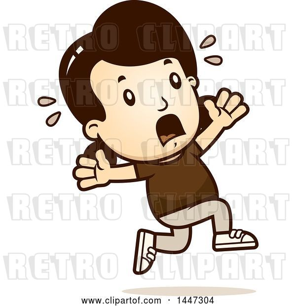 Vector Clip Art of Retro Cartoon White Girl Running Scared