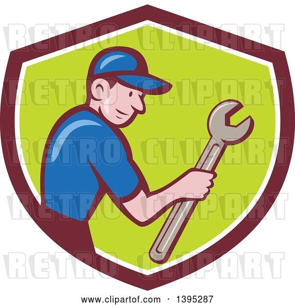 Vector Clip Art of Retro Cartoon White Handy Guy Holding a Spanner Wrench in a Shield