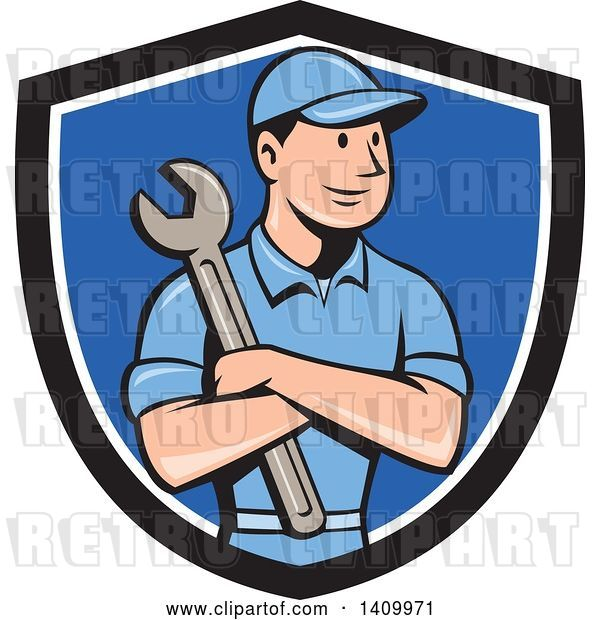 Vector Clip Art of Retro Cartoon White Handy Guy or Mechanic Holding a Spanner Wrench in Folded Arms in a Black White and Blue Shield
