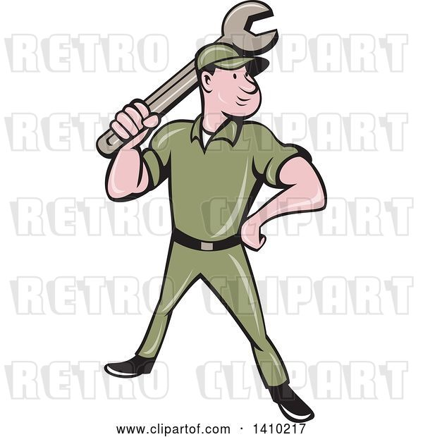 Vector Clip Art of Retro Cartoon White Handy Guy or Mechanic Standing and Holding a Spanner Wrench