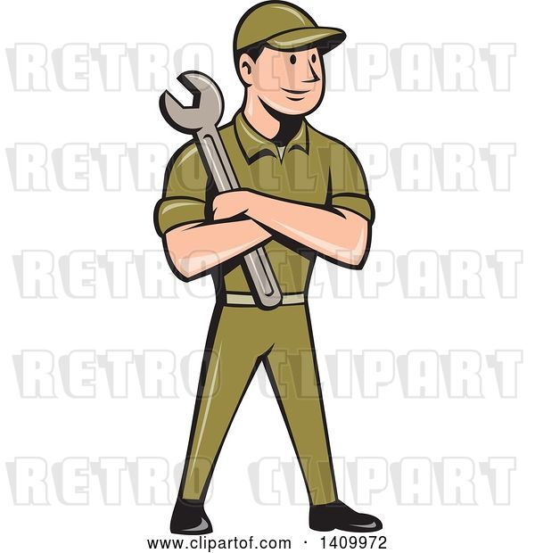 Vector Clip Art of Retro Cartoon White Handy Guy or Mechanic Standing and Holding a Spanner Wrench in Folded Arms