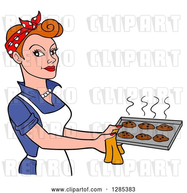 Vector Clip Art of Retro Cartoon White Lady Holding a Tray of Hot Fresh Cookies