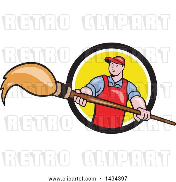 Vector Clip Art of Retro Cartoon White Male Artist Holding a Giant Paintbrush in a Black, White and Yellow Circle