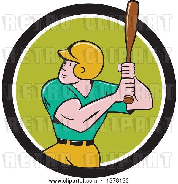 Vector Clip Art of Retro Cartoon White Male Baseball Player Athlete Batting in a Black White and Green Circle