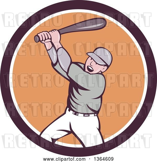 Vector Clip Art of Retro Cartoon White Male Baseball Player Athlete Batting in a Brown White and Orange Circle