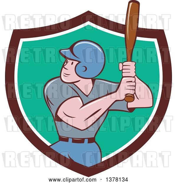 Vector Clip Art of Retro Cartoon White Male Baseball Player Athlete Batting in a Brown White and Turquoise Shield