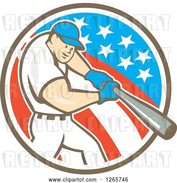Vector Clip Art of Retro Cartoon White Male Baseball Player Batting in an American Circle