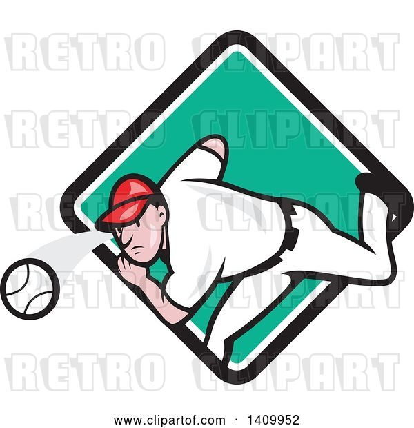 Vector Clip Art of Retro Cartoon White Male Baseball Player Pitching, Emerging from a Turquoise White and Black Diamond