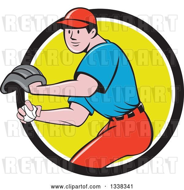 Vector Clip Art of Retro Cartoon White Male Baseball Player Pitching in a Black White and Green Circle