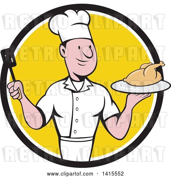 Vector Clip Art of Retro Cartoon White Male Chef Holding a Spatula and Serving a Roasted Chicken in a Black White and Yellow Circle