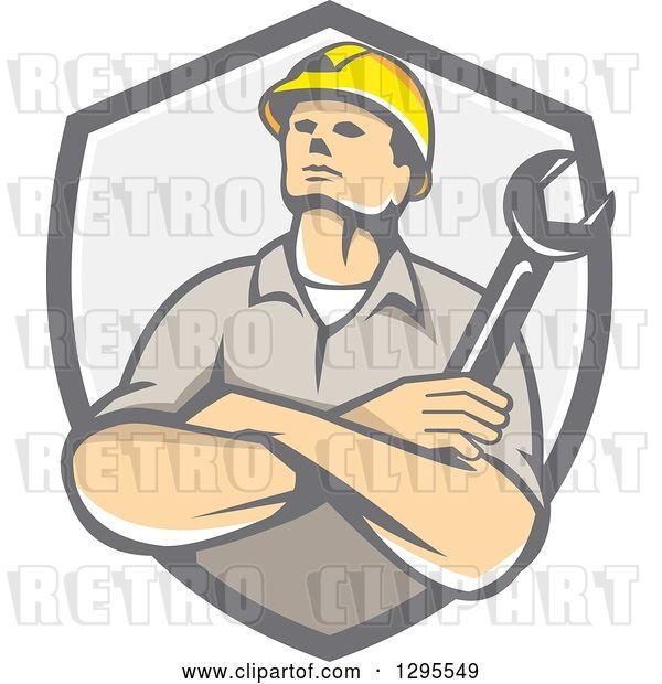 Vector Clip Art of Retro Cartoon White Male Construction or Builder Worker with Folded Arms and a Wrench in a Gray Shield