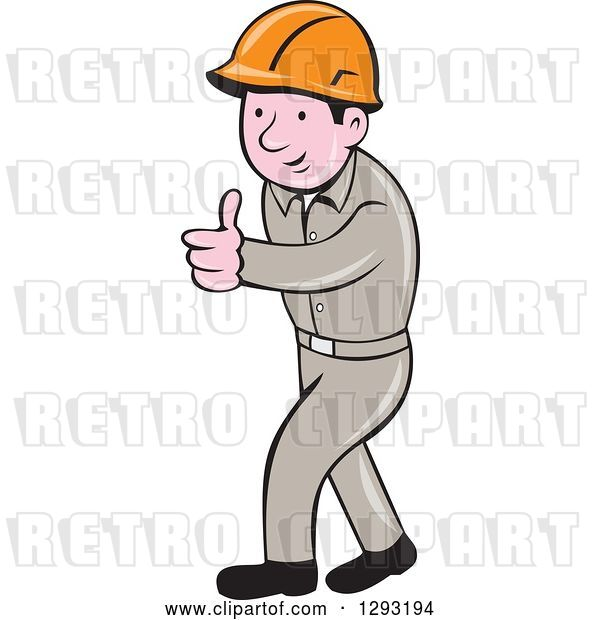 Vector Clip Art of Retro Cartoon White Male Construction Worker Foreman Giving a Thumb up