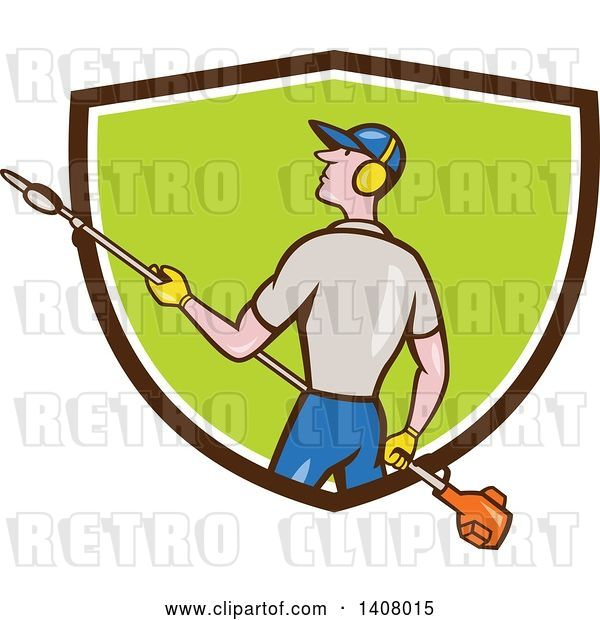 Vector Clip Art of Retro Cartoon White Male Gardener Holding a Hedge Trimmer, Emerging from a Brown White and Green Shield