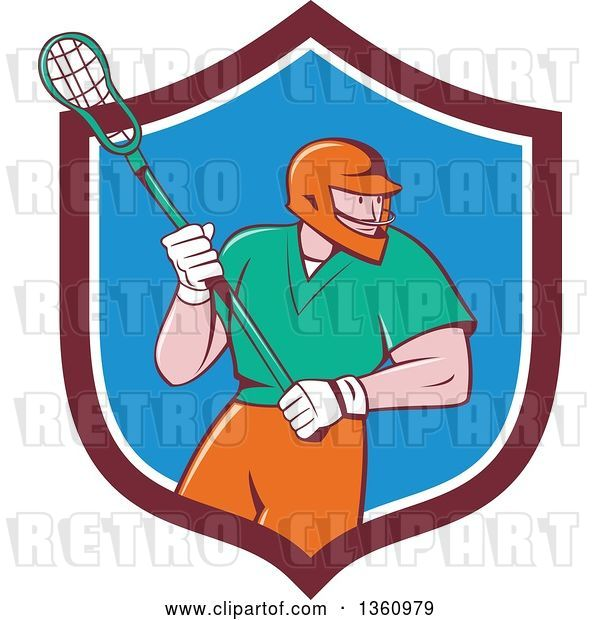 Vector Clip Art of Retro Cartoon White Male Lacrosse Player with a Stick in a Maroon White and Blue Shield