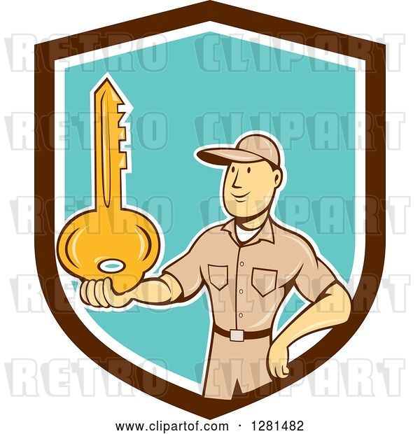 Vector Clip Art of Retro Cartoon White Male Locksmith Holding out a Giant Gold Key in a Brown White and Turquoise Shield
