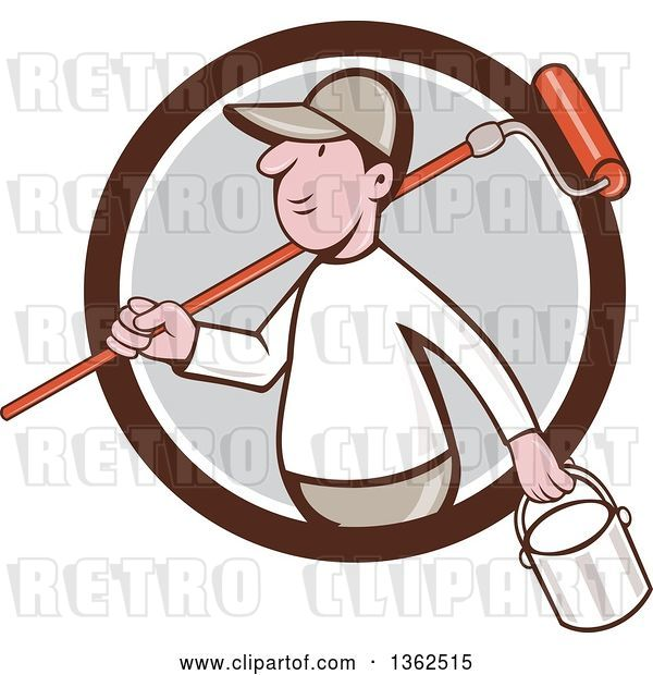 Vector Clip Art of Retro Cartoon White Male Painter Carrying a Can and a Roller Brush over His Shoulder, Emerging from a Brown White and Gray Circle
