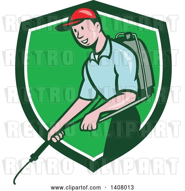 Vector Clip Art of Retro Cartoon White Male Pest Control Exterminator Spraying in a Green and White Shield