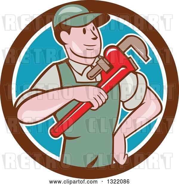 Vector Clip Art of Retro Cartoon White Male Plumber Holding a Giant Monkey Wrench in a Brown White and Blue Circle